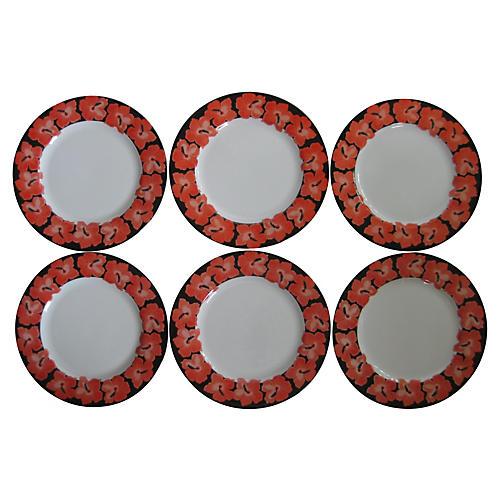 Taitu Porcelain Hibiscus Plates S/6