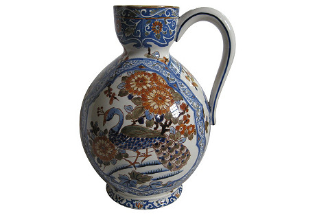 French Faience Peacock Pitcher