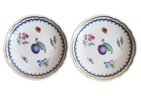Ginori Gilt Porcelain Plum Dishes, Pair