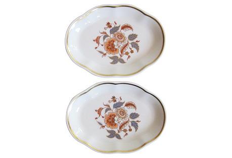 Ginori Italian Porcelain Floral Trays