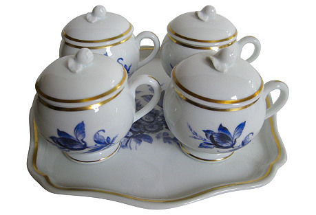 Ginori Porcelain Pots de Crème Set, S/5