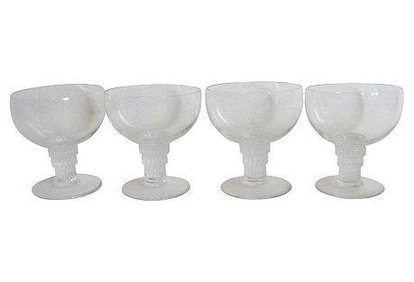 Lalique  French Art Deco  Glasses,   S/4