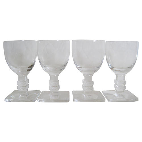 Lalique Crystal Glasses, S/4