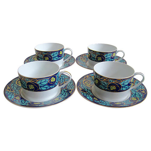 Limoges Art Nouveau Cups & Saucers, S/4