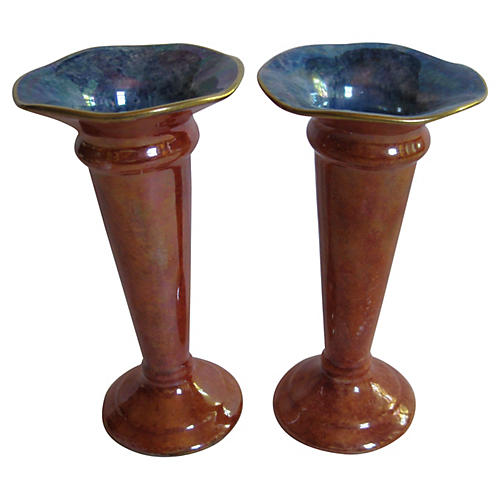 English Art Deco Trumpet Vases, Pair