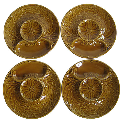 French Majolica Artichoke Plates, C.1960