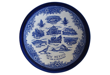 Flow Blue New Mexico Plate
