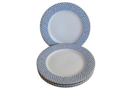 Blue & White Porcelain Canapé Plates S/4