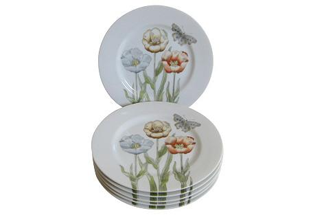 Poppy & Butterfly Porcelain Plates, S/6