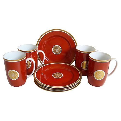 Cinnabar Porcelain Plates & Mugs, S/8