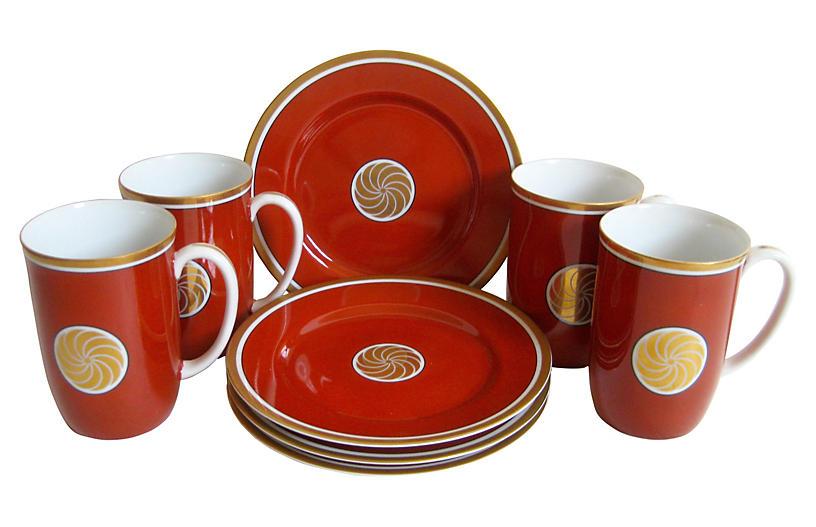 Cinnabar Porcelain Dessert Service for 4