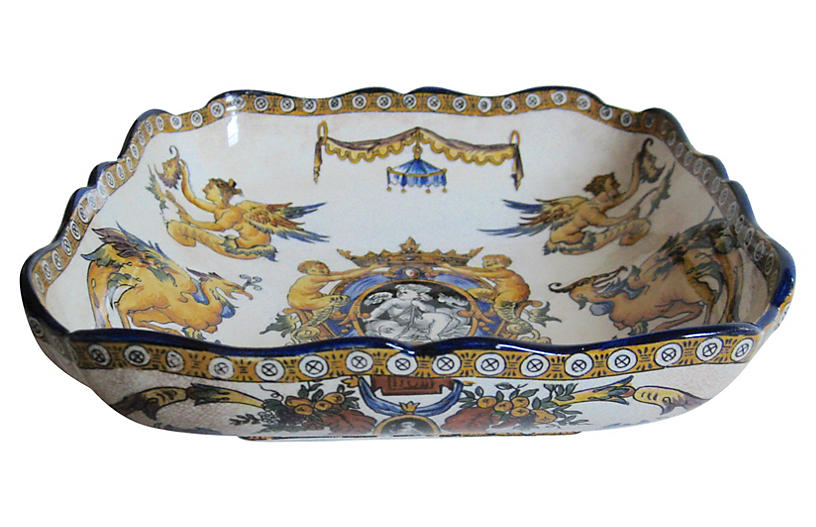 19th-C. French Faience Serving Bowl