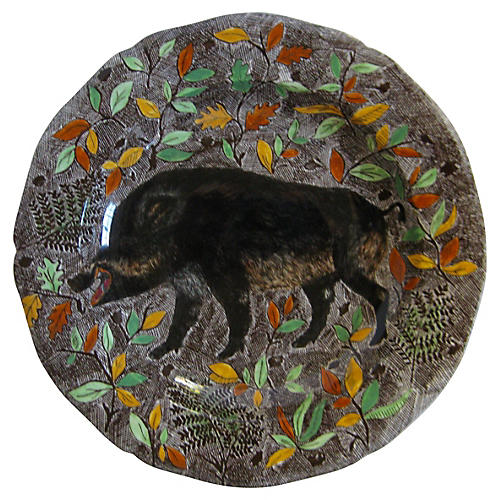 French Faience Wild Boar Platter