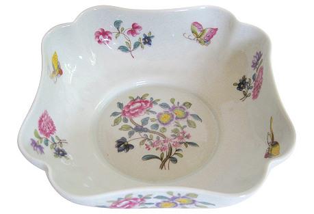 Limoges Flowers & Butterflies Bowl