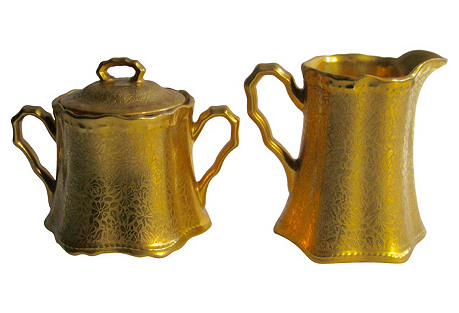 Antique Gilt Porcelain Sugar & Creamer