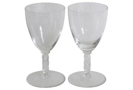 Lalique Art Deco Port Glasses, Pair
