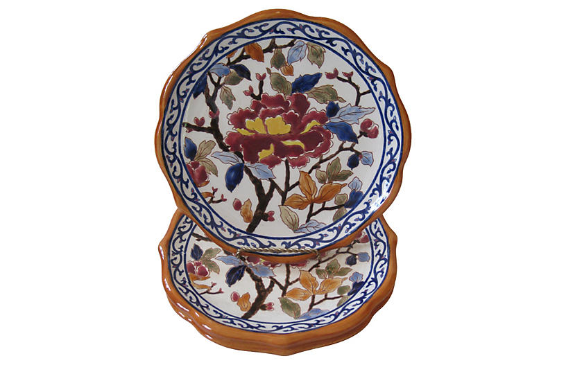 French Faience Peony Plates, S/4