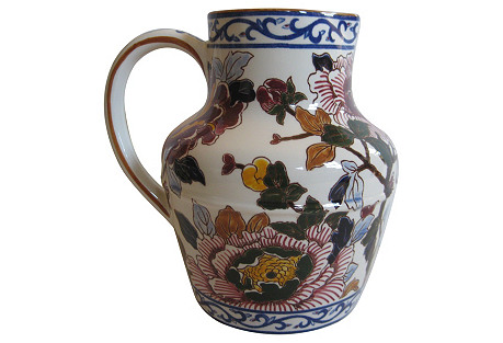 French Faience   Peonies     Pitcher