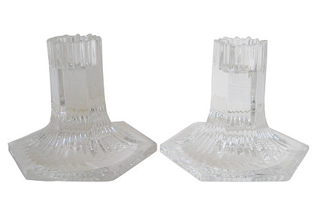 Tiffany & Co. Crystal Candlesticks, S/2