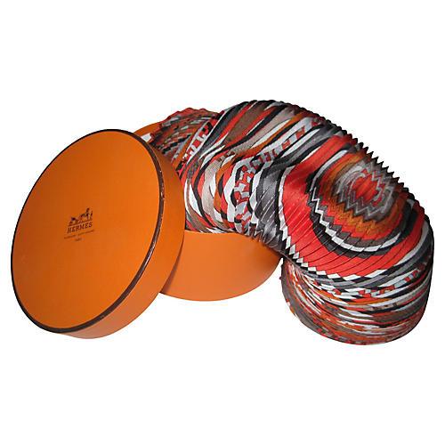 Hermès Tohu Bohu Pleated Scarf w/Box