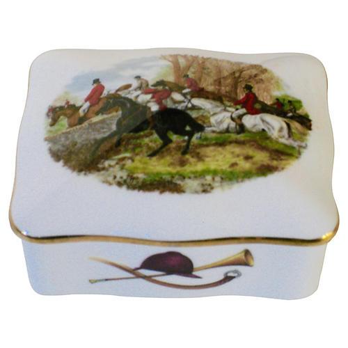 English Porcelain Hunting Scene Box