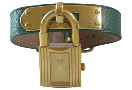 Hermès Kelly Watch w/ Green Strap