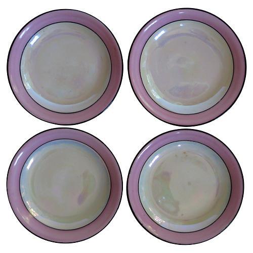 Porcelain Art Deco Butter Dishes, S/4
