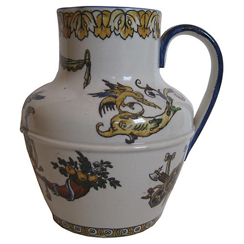 Antique French Faience Pitcher