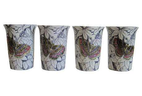 Butterfly Porcelain Tumblers, S/4