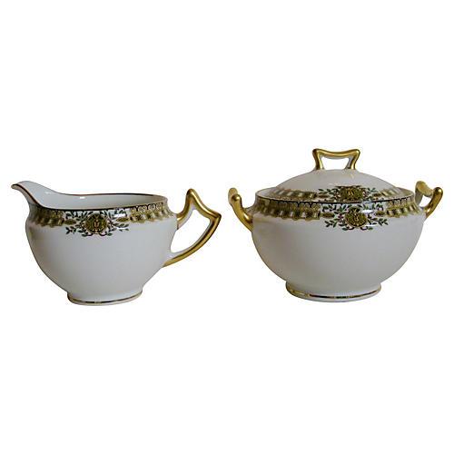 1920s Limoges Porcelain Sugar & Creamer
