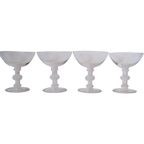 Lalique French Crystal Champagnes, S/4