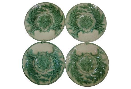 French Majolica Artichoke Plates, S/4