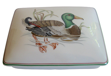 Porcelain Duck Box with Playing Cards