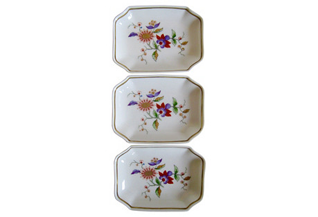 Ginori Italian Gilt Porcelain Trays S/3