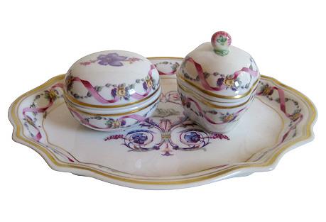 Ginori Italian Porcelain Vanity Set S/3