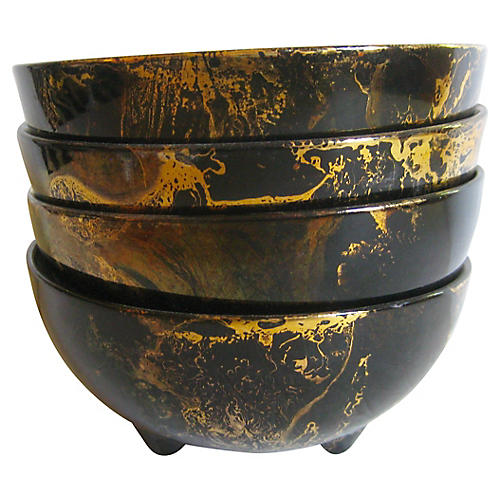 Sascha Brastoff Black and Gold Bowls S/4