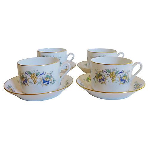 Ginori Porcelain Cups & Saucers, S/4