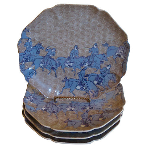 Porcelain Samurai Warrior Plates S/4