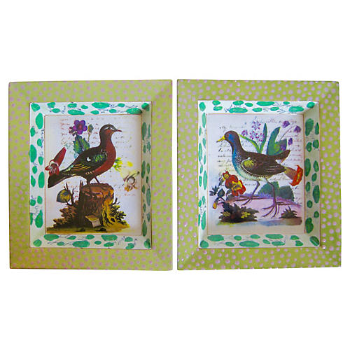 Enameled Porcelain Bird Trays, S/2