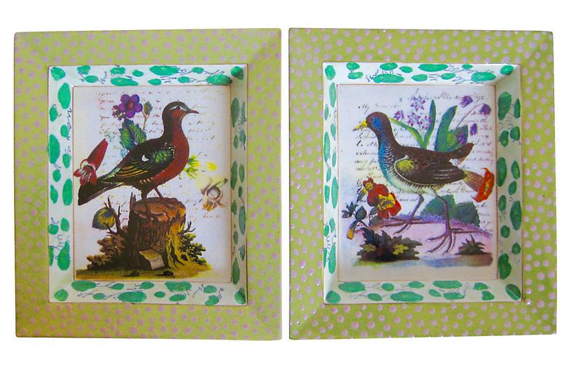 Enameled Porcelain Bird Trays, S/2