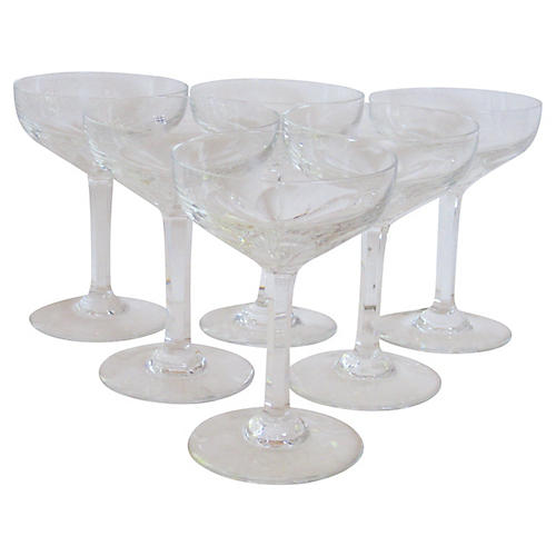 Baccarat Crystal Champagne Saucers, S/6