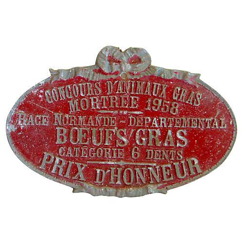 French Steer Medal, 1958