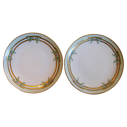 Floral Dessert Plates, Pair