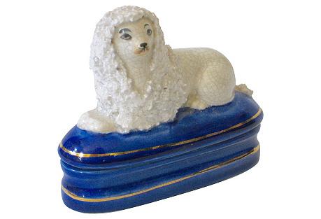 Staffordshire-Style Porcelain Dog Box
