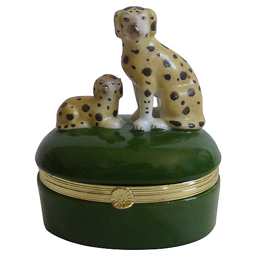 Spotted Dog & Puppy Porcelain Box