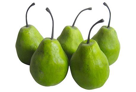 Papier-Mâché Pears S/5