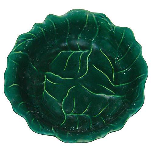1940s American Majolica Leaf Bowl