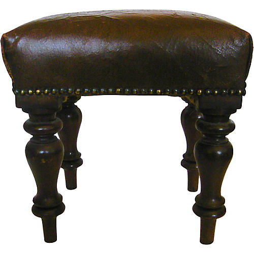 English Leather Stool, C. 1900