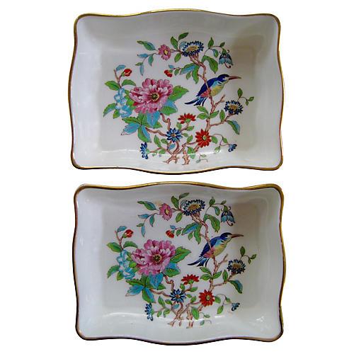 English Porcelain Jewelry Trays, S/2