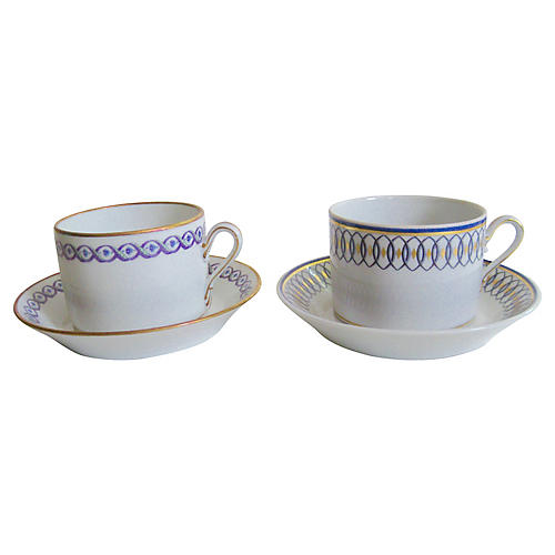 Ginori Cups & Saucers, 4-Pcs